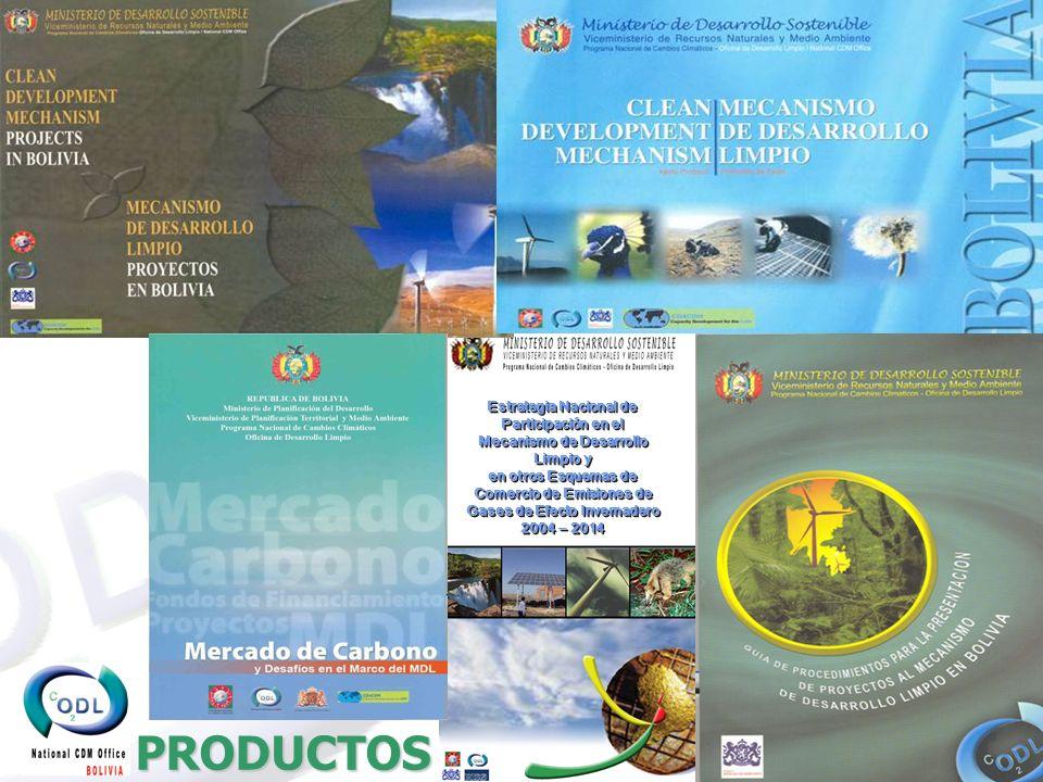 PRODUCTOS Estrategia Nacional de Participación en el Mecanismo de Desarrollo Limpio y en otros Esquemas de Comercio de Emisiones de Gases de Efecto Invernadero 2004 – 2014 Estrategia Nacional de Participación en el Mecanismo de Desarrollo Limpio y en otros Esquemas de Comercio de Emisiones de Gases de Efecto Invernadero 2004 – 2014