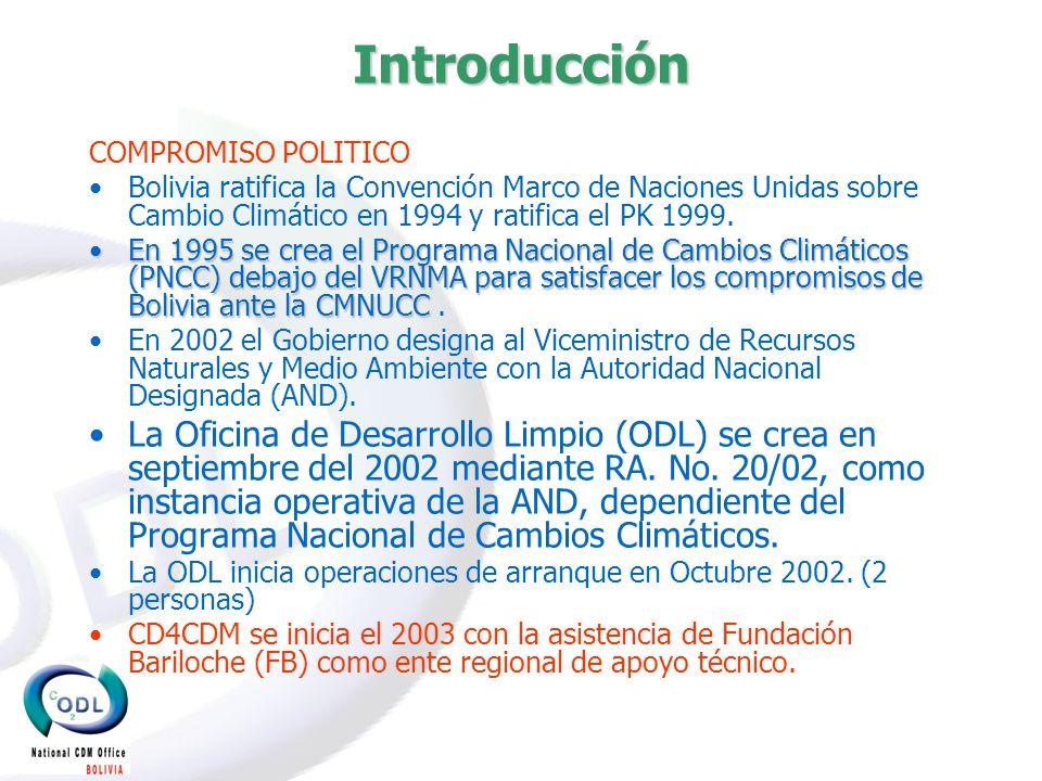 Introducción COMPROMISO POLITICO Bolivia ratifica la Convención Marco de Naciones Unidas sobre Cambio Climático en 1994 y ratifica el PK 1999.