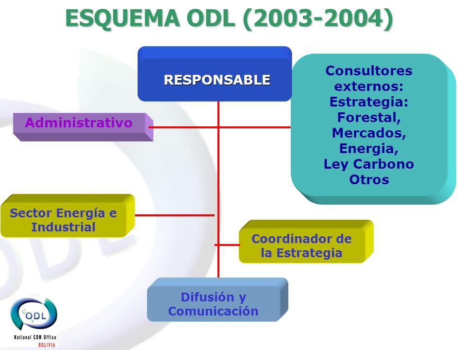 ESTRUCTURA DE LA ODL (2005- ) Consultores Externos: Asesoria Legal, SI Responsable de la ODL Sector de Agricultura y Bosques (LULUCF) ADMINISTRADOR Sector Industrial y Energético Área de Marketing y comunicación Área de Colocación de CERS (públicos y/privados) Por implementarse Sector proyectos públicos programáticos