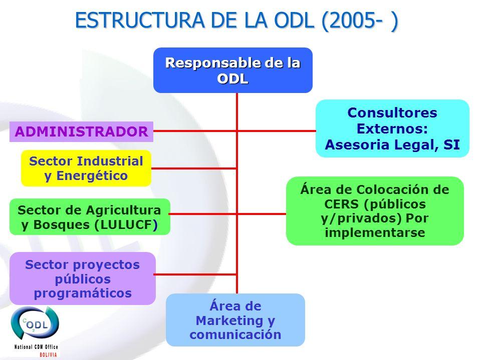 ESTRUCTURA DE LA ODL (2005- ) Consultores Externos: Asesoria Legal, SI Responsable de la ODL Sector de Agricultura y Bosques (LULUCF) ADMINISTRADOR Se