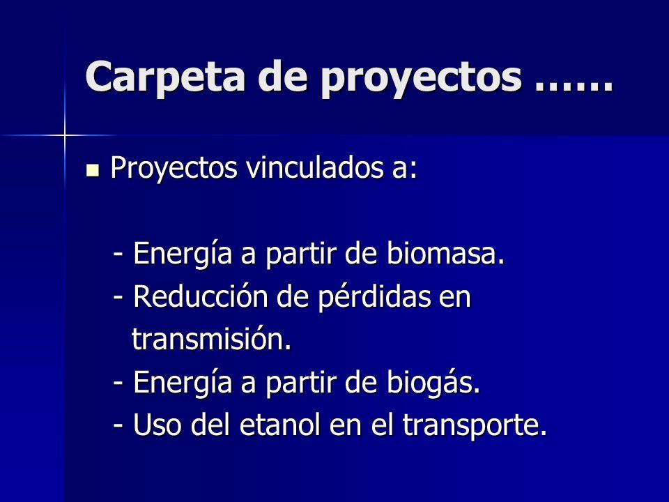 Carpeta de proyectos …… Proyectos vinculados a: Proyectos vinculados a: - Energía a partir de biomasa. - Energía a partir de biomasa. - Reducción de p