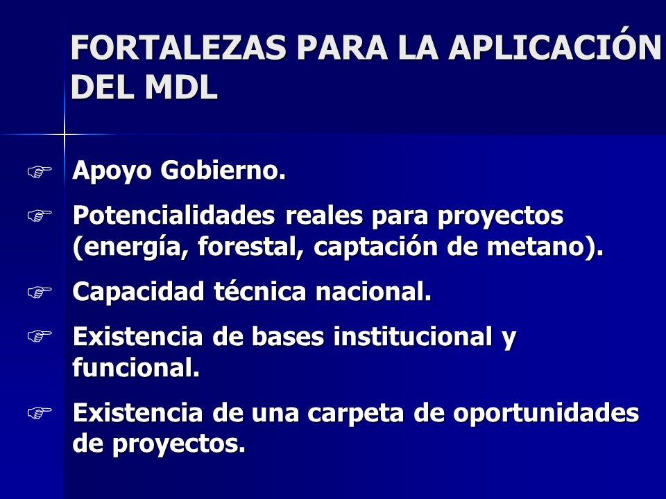 FORTALEZAS PARA LA APLICACIÓN DEL MDL Apoyo Gobierno. Potencialidades reales para proyectos (energía, forestal, captación de metano). Capacidad técnic