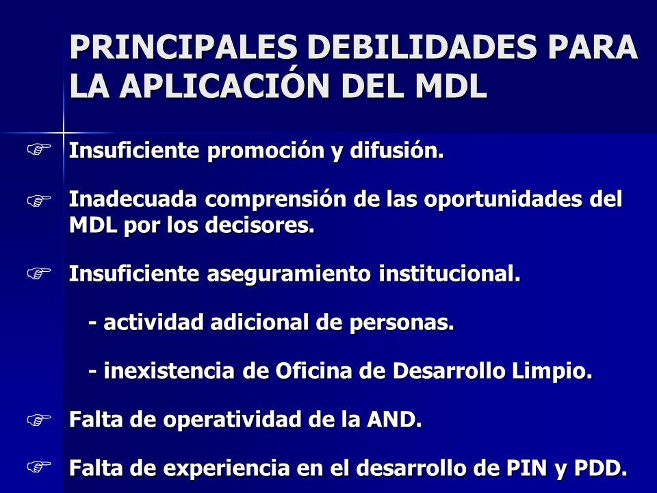 PRINCIPALES DEBILIDADES PARA LA APLICACIÓN DEL MDL Insuficiente promoción y difusión. Inadecuada comprensión de las oportunidades del MDL por los deci