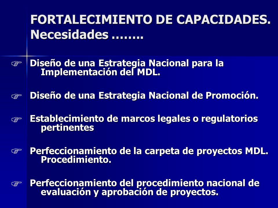 FORTALECIMIENTO DE CAPACIDADES. Necesidades …….. Diseño de una Estrategia Nacional para la Implementación del MDL. Diseño de una Estrategia Nacional d