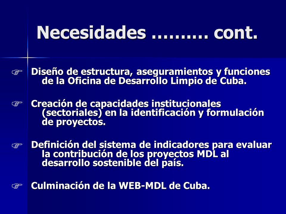 Necesidades …….… cont. Diseño de estructura, aseguramientos y funciones de la Oficina de Desarrollo Limpio de Cuba. Creación de capacidades institucio