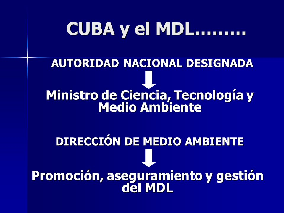 CUBA y el MDL……… CUBA y el MDL……… AUTORIDAD NACIONAL DESIGNADA Ministro de Ciencia, Tecnología y Medio Ambiente DIRECCIÓN DE MEDIO AMBIENTE Promoción,