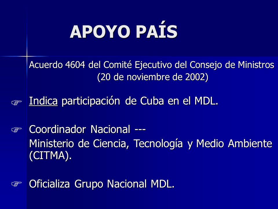 APOYO PAÍS APOYO PAÍS Acuerdo 4604 del Comité Ejecutivo del Consejo de Ministros (20 de noviembre de 2002) Indica participación de Cuba en el MDL. Coo