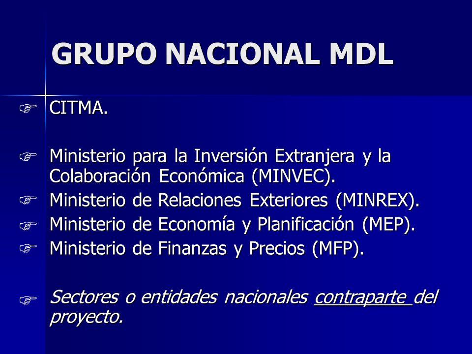 GRUPO NACIONAL MDL CITMA. Ministerio para la Inversión Extranjera y la Colaboración Económica (MINVEC). Ministerio de Relaciones Exteriores (MINREX).