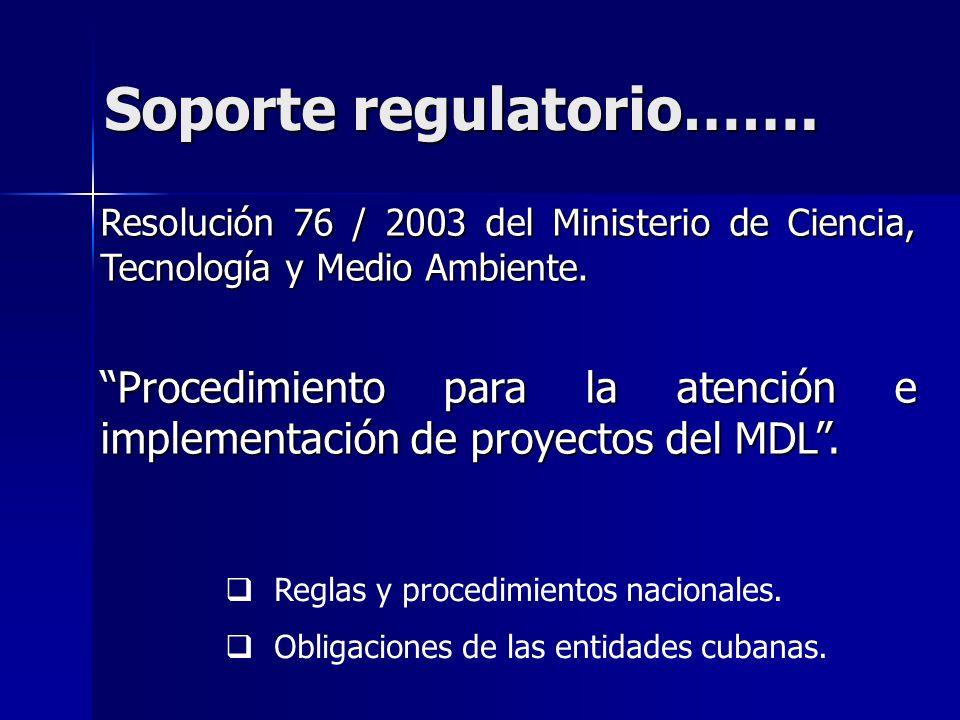 Soporte regulatorio……. Resolución 76 / 2003 del Ministerio de Ciencia, Tecnología y Medio Ambiente.