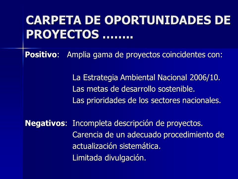 CARPETA DE OPORTUNIDADES DE PROYECTOS …….. Positivo: Amplia gama de proyectos coincidentes con: La Estrategia Ambiental Nacional 2006/10. Las metas de