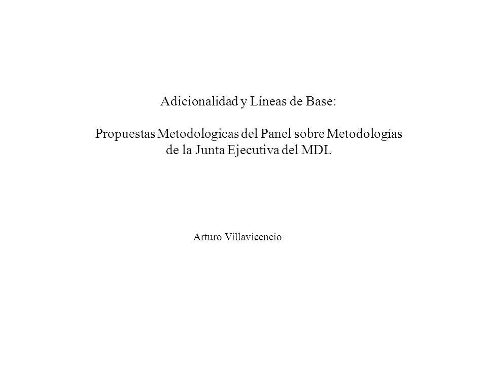 Adicionalidad y Líneas de Base: Propuestas Metodologicas del Panel sobre Metodologías de la Junta Ejecutiva del MDL Arturo Villavicencio