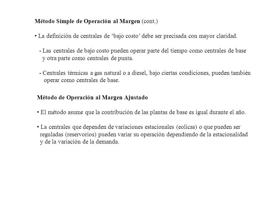 Método Simple de Operación al Margen (cont.) La definición de centrales de bajo costo debe ser precisada con mayor claridad. - Las centrales de bajo c
