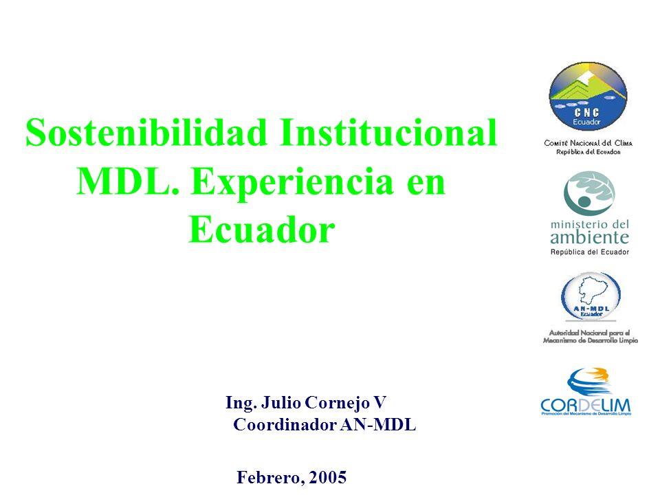 Sostenibilidad Institucional MDL. Experiencia en Ecuador Ing. Julio Cornejo V Coordinador AN-MDL Febrero, 2005