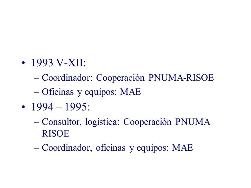 1993 V-XII: –Coordinador: Cooperación PNUMA-RISOE –Oficinas y equipos: MAE 1994 – 1995: –Consultor, logística: Cooperación PNUMA RISOE –Coordinador, oficinas y equipos: MAE
