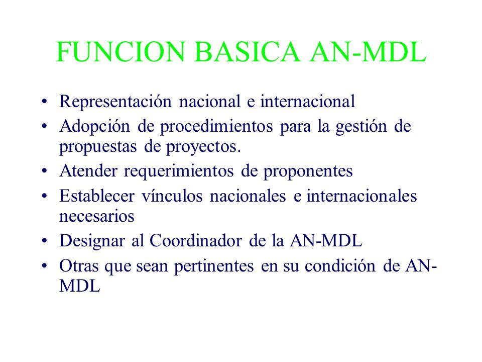 FUNCION BASICA AN-MDL Representación nacional e internacional Adopción de procedimientos para la gestión de propuestas de proyectos.