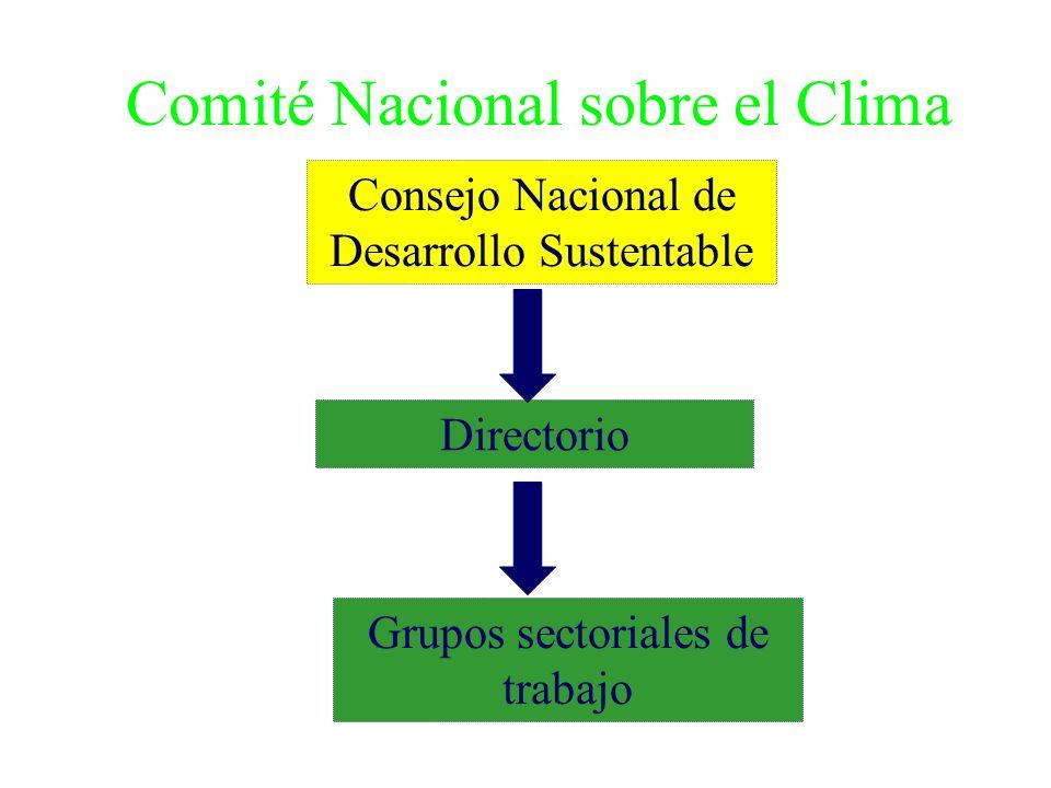 Comité Nacional sobre el Clima Grupos sectoriales de trabajo Directorio Consejo Nacional de Desarrollo Sustentable