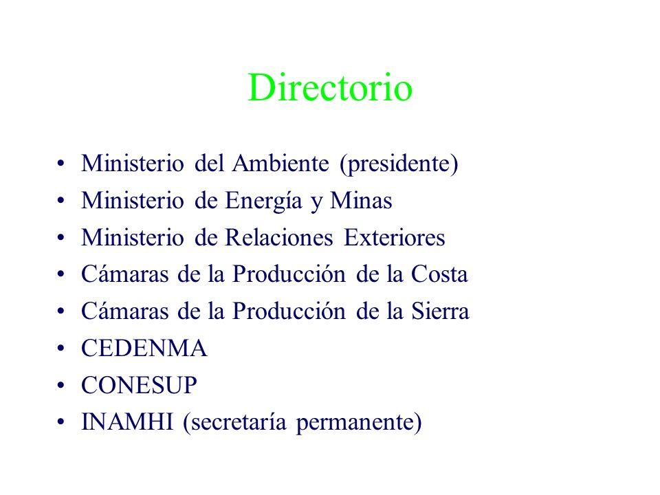 Directorio Ministerio del Ambiente (presidente) Ministerio de Energía y Minas Ministerio de Relaciones Exteriores Cámaras de la Producción de la Costa Cámaras de la Producción de la Sierra CEDENMA CONESUP INAMHI (secretaría permanente)