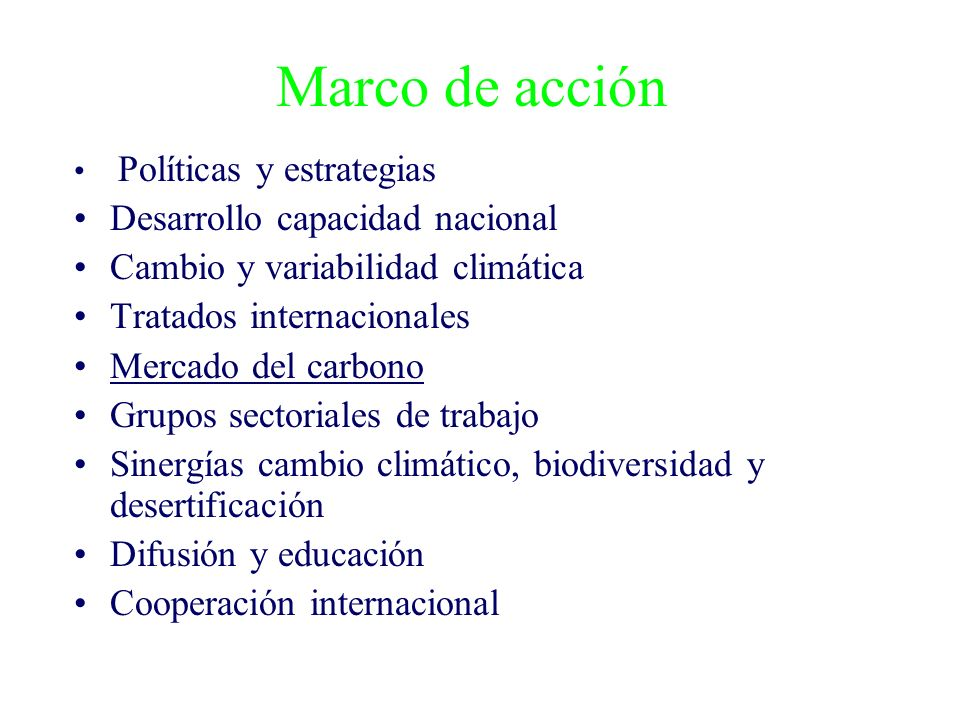 Marco de acción Políticas y estrategias Desarrollo capacidad nacional Cambio y variabilidad climática Tratados internacionales Mercado del carbono Grupos sectoriales de trabajo Sinergías cambio climático, biodiversidad y desertificación Difusión y educación Cooperación internacional