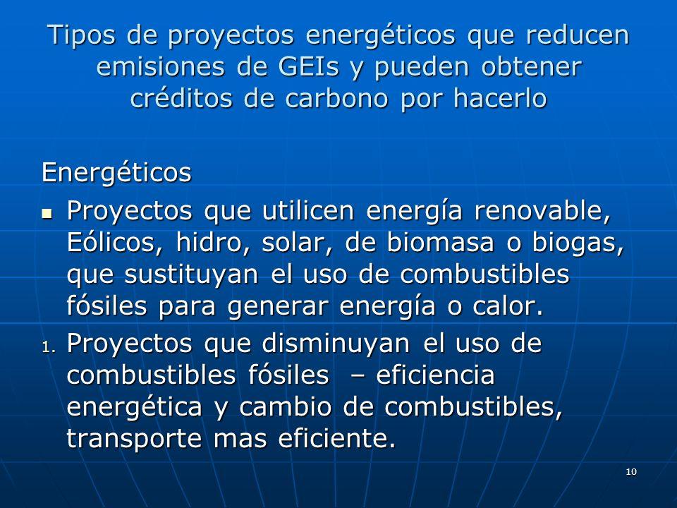 10 Tipos de proyectos energéticos que reducen emisiones de GEIs y pueden obtener créditos de carbono por hacerlo Energéticos Proyectos que utilicen en