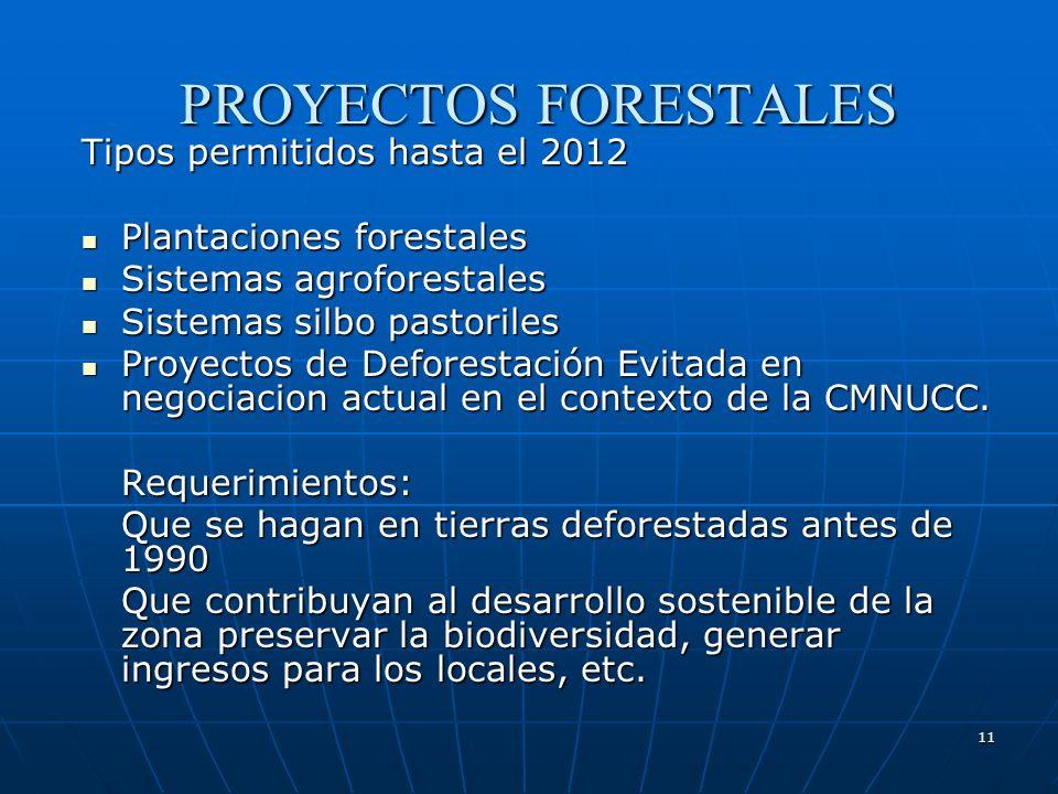 11 PROYECTOS FORESTALES Tipos permitidos hasta el 2012 Plantaciones forestales Plantaciones forestales Sistemas agroforestales Sistemas agroforestales