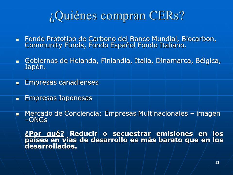 13 ¿Quiénes compran CERs? Fondo Prototipo de Carbono del Banco Mundial, Biocarbon, Community Funds, Fondo Español Fondo Italiano. Fondo Prototipo de C