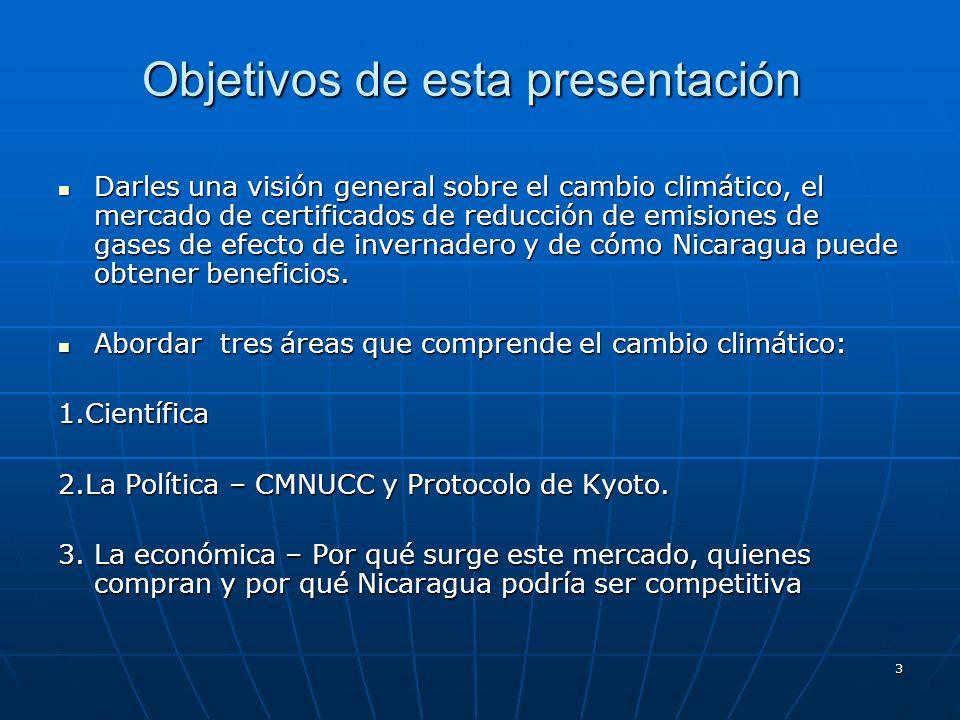 3 Objetivos de esta presentación Darles una visión general sobre el cambio climático, el mercado de certificados de reducción de emisiones de gases de