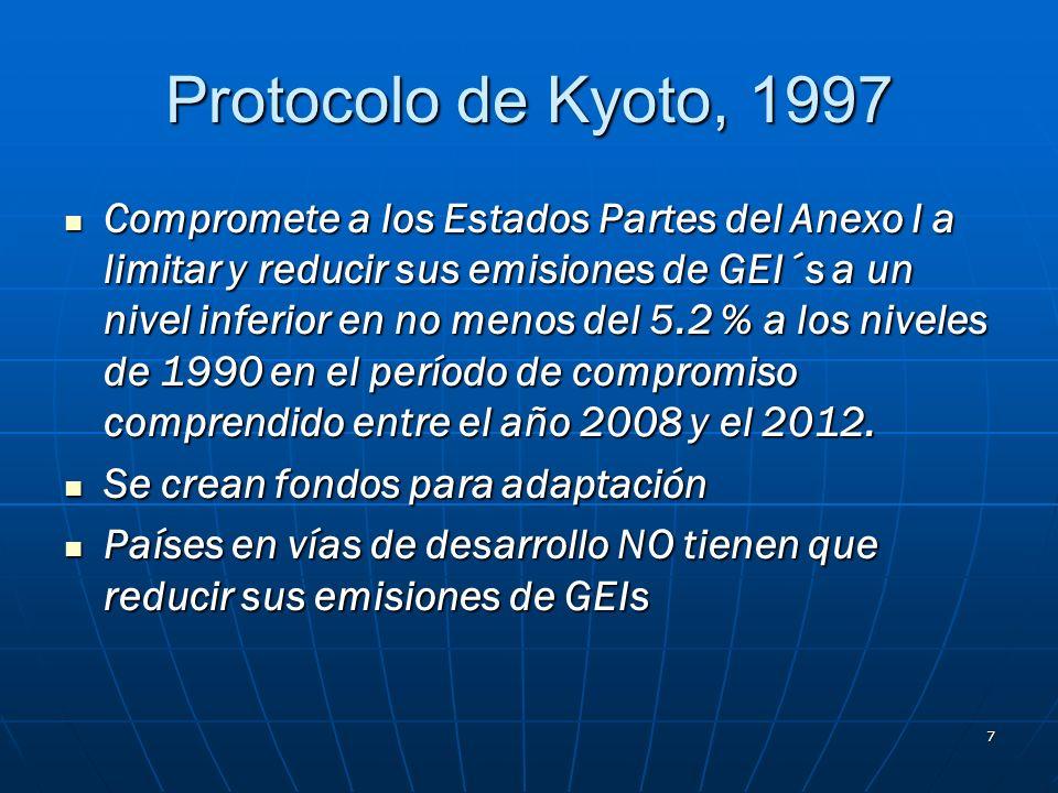 7 Protocolo de Kyoto, 1997 Compromete a los Estados Partes del Anexo I a limitar y reducir sus emisiones de GEI´s a un nivel inferior en no menos del