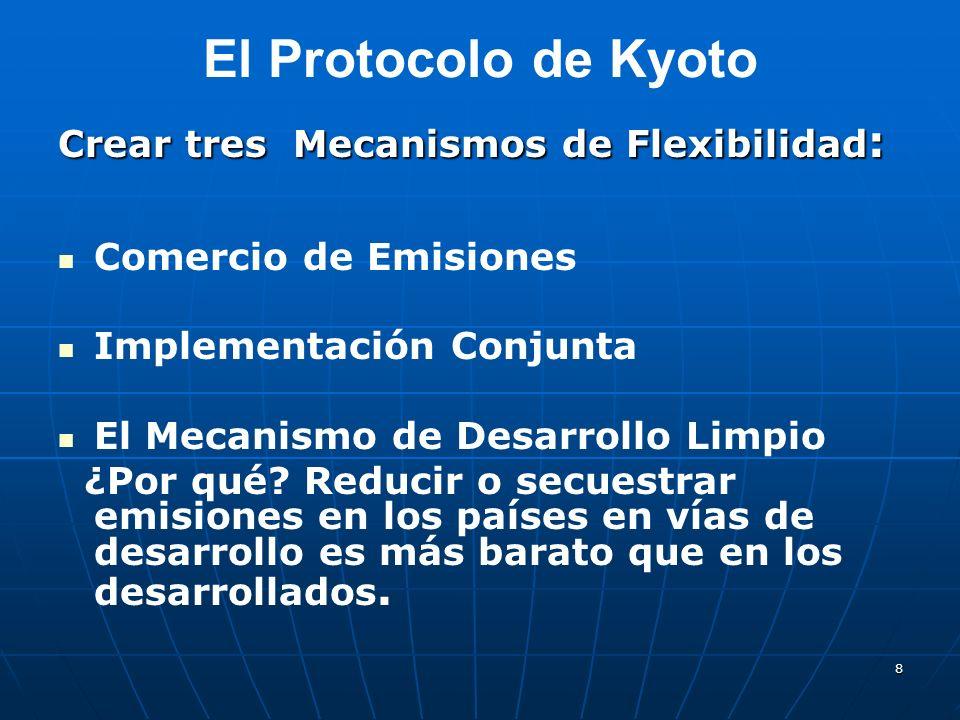 8 El Protocolo de Kyoto Crear tres Mecanismos de Flexibilidad : Comercio de Emisiones Implementación Conjunta El Mecanismo de Desarrollo Limpio ¿Por q