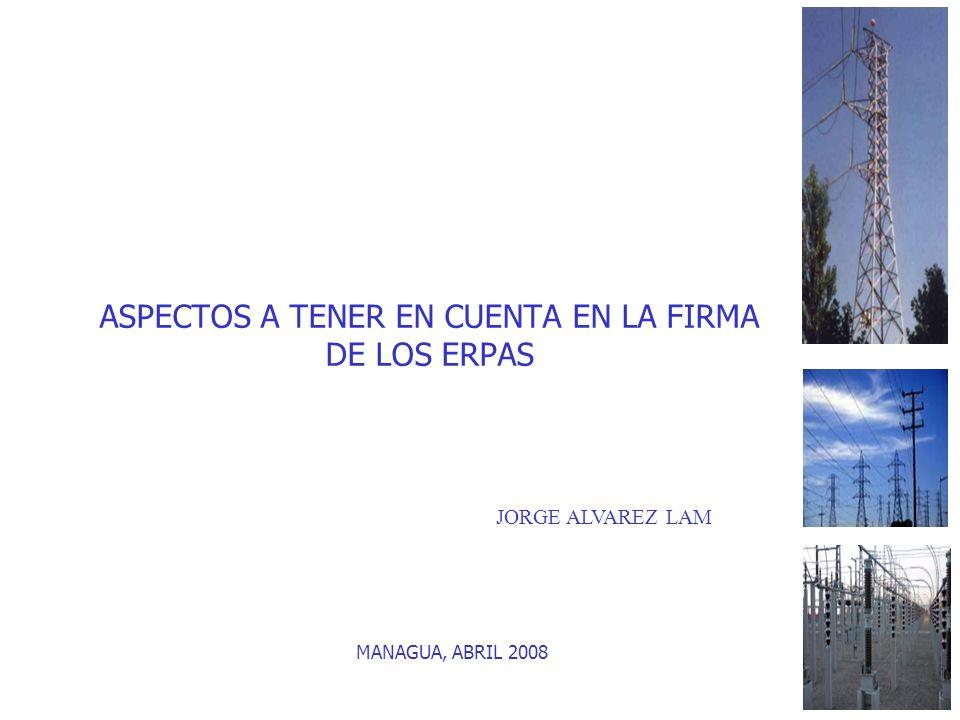 ASPECTOS A TENER EN CUENTA EN LA FIRMA DE LOS ERPAS MANAGUA, ABRIL 2008 JORGE ALVAREZ LAM