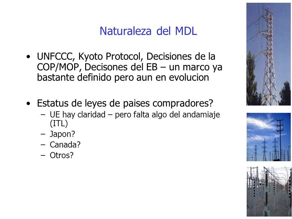 Naturaleza del MDL UNFCCC, Kyoto Protocol, Decisiones de la COP/MOP, Decisones del EB – un marco ya bastante definido pero aun en evolucion Estatus de leyes de paises compradores.