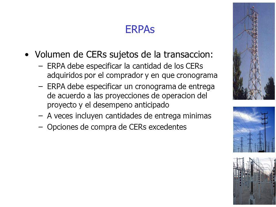 ERPAs Volumen de CERs sujetos de la transaccion: –ERPA debe especificar la cantidad de los CERs adquiridos por el comprador y en que cronograma –ERPA debe especificar un cronograma de entrega de acuerdo a las proyecciones de operacion del proyecto y el desempeno anticipado –A veces incluyen cantidades de entrega minimas –Opciones de compra de CERs excedentes