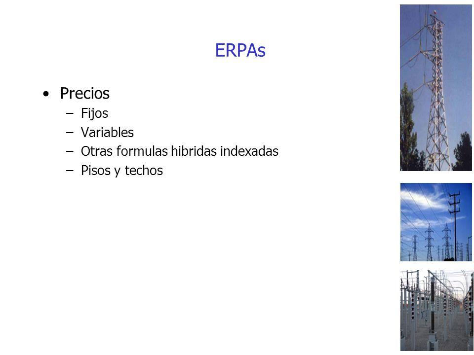 ERPAs Precios –Fijos –Variables –Otras formulas hibridas indexadas –Pisos y techos