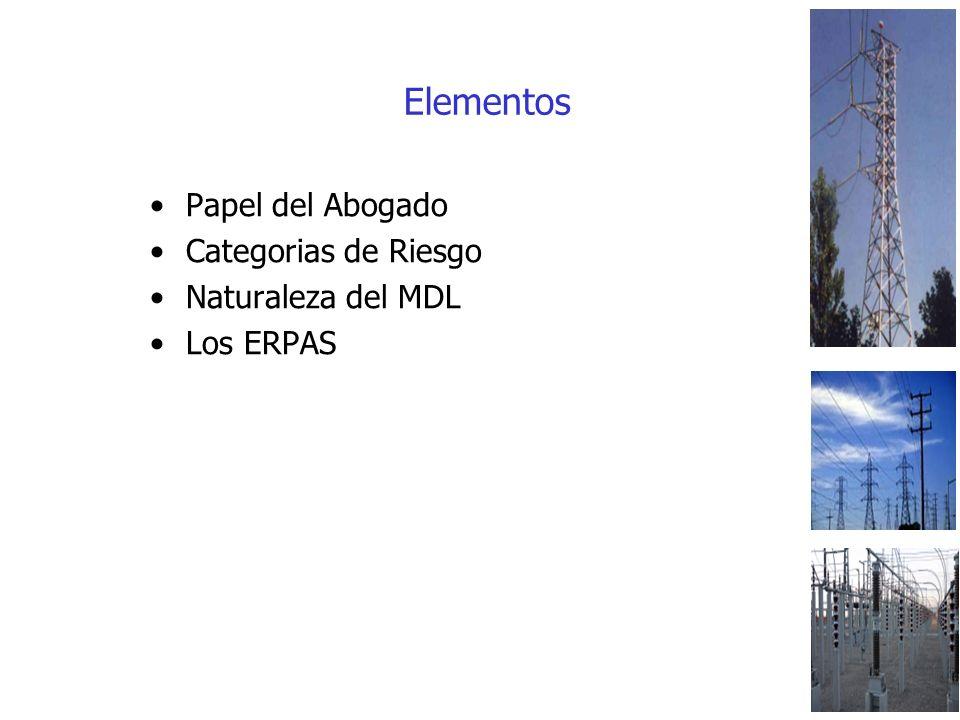 Elementos Papel del Abogado Categorias de Riesgo Naturaleza del MDL Los ERPAS
