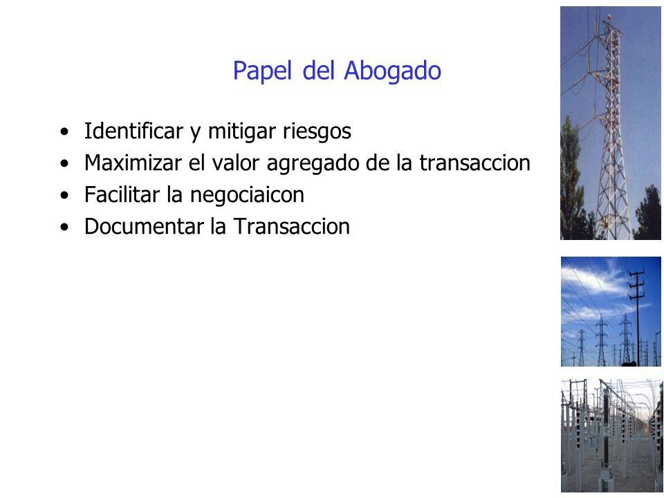 Papel del Abogado Identificar y mitigar riesgos Maximizar el valor agregado de la transaccion Facilitar la negociaicon Documentar la Transaccion