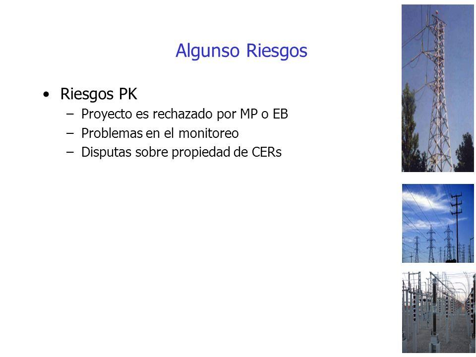 Algunso Riesgos Riesgos PK –Proyecto es rechazado por MP o EB –Problemas en el monitoreo –Disputas sobre propiedad de CERs