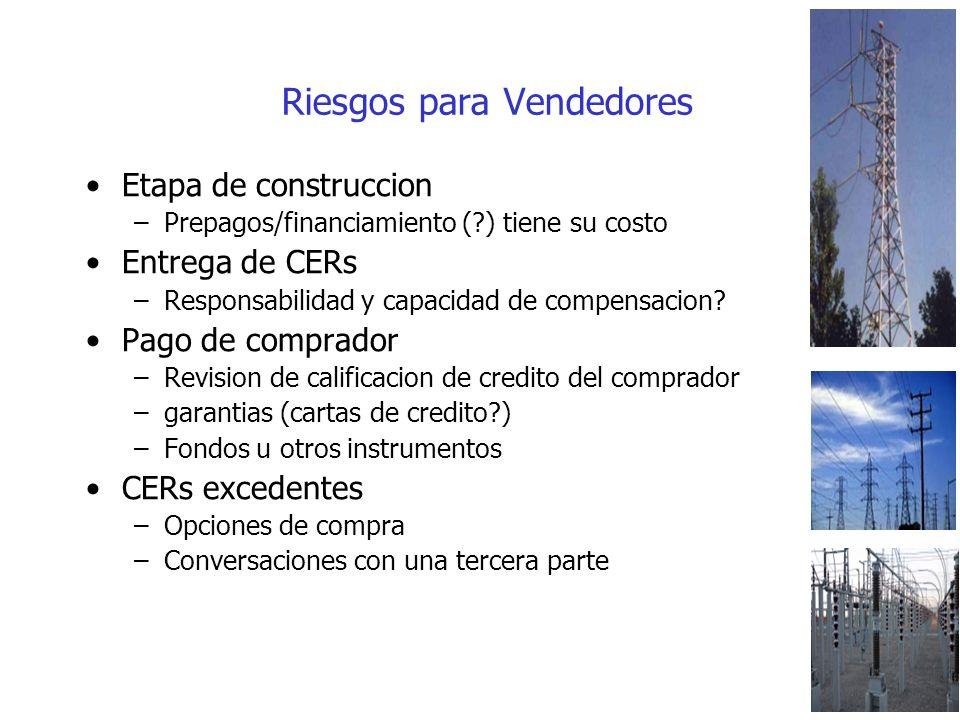 Riesgos para Vendedores Etapa de construccion –Prepagos/financiamiento ( ) tiene su costo Entrega de CERs –Responsabilidad y capacidad de compensacion.