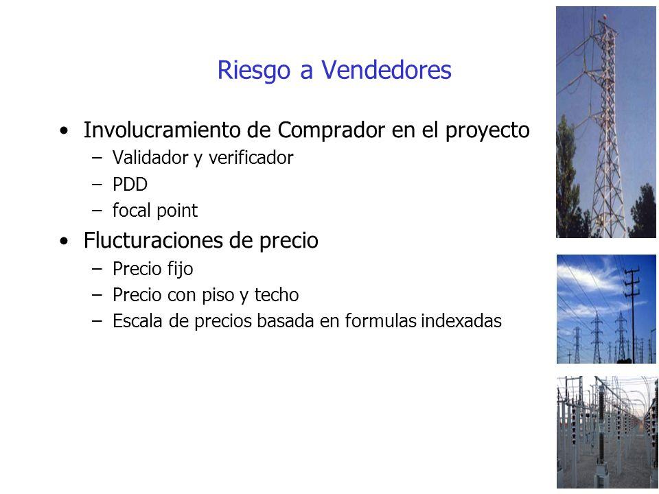 Riesgo a Vendedores Involucramiento de Comprador en el proyecto –Validador y verificador –PDD –focal point Flucturaciones de precio –Precio fijo –Precio con piso y techo –Escala de precios basada en formulas indexadas