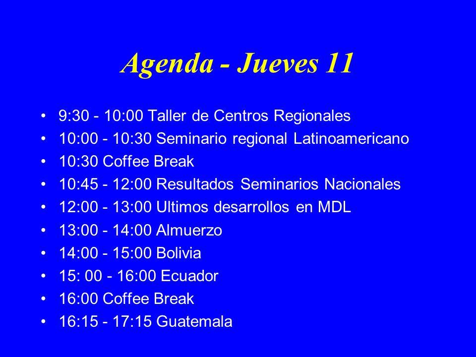 Agenda - Jueves 11 9:30 - 10:00 Taller de Centros Regionales 10:00 - 10:30 Seminario regional Latinoamericano 10:30 Coffee Break 10:45 - 12:00 Resultados Seminarios Nacionales 12:00 - 13:00 Ultimos desarrollos en MDL 13:00 - 14:00 Almuerzo 14:00 - 15:00 Bolivia 15: 00 - 16:00 Ecuador 16:00 Coffee Break 16:15 - 17:15 Guatemala