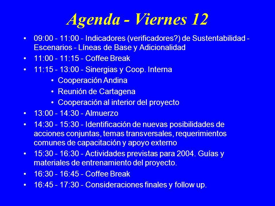 Agenda - Viernes 12 09:00 - 11:00 - Indicadores (verificadores?) de Sustentabilidad - Escenarios - Líneas de Base y Adicionalidad 11:00 - 11:15 - Coffee Break 11:15 - 13:00 - Sinergias y Coop.