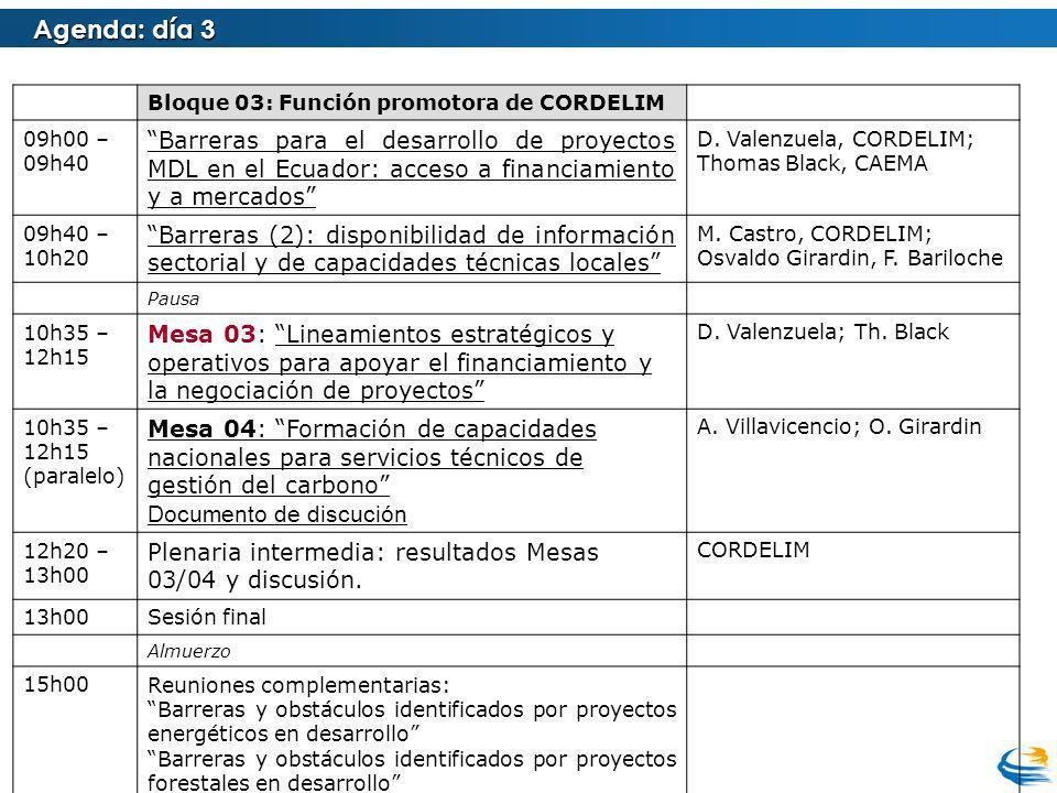 Agenda: día 3 Bloque 03: Función promotora de CORDELIM 09h00 – 09h40 Barreras para el desarrollo de proyectos MDL en el Ecuador: acceso a financiamiento y a mercados D.