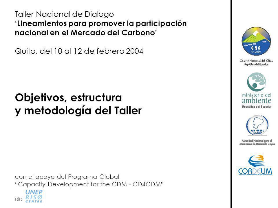 Taller Nacional de Dialogo Lineamientos para promover la participación nacional en el Mercado del Carbono Quito, del 10 al 12 de febrero 2004 Objetivos, estructura y metodología del Taller con el apoyo del Programa Global Capacity Development for the CDM - CD4CDM de