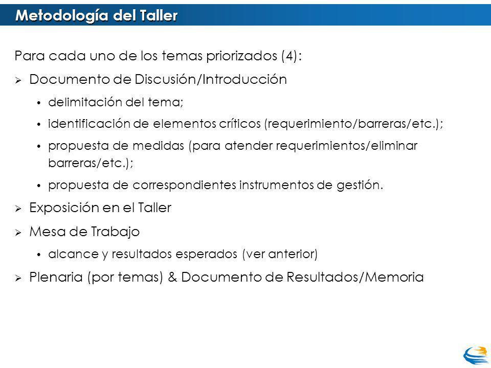 Para cada uno de los temas priorizados (4): Documento de Discusión/Introducción delimitación del tema; identificación de elementos críticos (requerimiento/barreras/etc.); propuesta de medidas (para atender requerimientos/eliminar barreras/etc.); propuesta de correspondientes instrumentos de gestión.