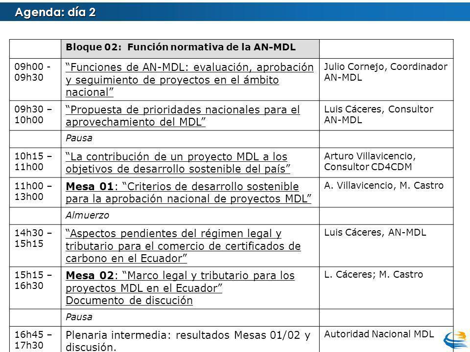 Agenda: día 2 Bloque 02: Función normativa de la AN-MDL 09h00 - 09h30 Funciones de AN-MDL: evaluación, aprobación y seguimiento de proyectos en el ámbito nacional Julio Cornejo, Coordinador AN-MDL 09h30 – 10h00 Propuesta de prioridades nacionales para el aprovechamiento del MDL Luis Cáceres, Consultor AN-MDL Pausa 10h15 – 11h00 La contribución de un proyecto MDL a los objetivos de desarrollo sostenible del país Arturo Villavicencio, Consultor CD4CDM 11h00 – 13h00 Mesa 01: Criterios de desarrollo sostenible para la aprobación nacional de proyectos MDL A.