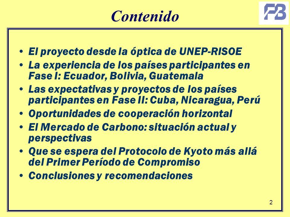 2 Contenido El proyecto desde la óptica de UNEP-RISOE La experiencia de los países participantes en Fase I: Ecuador, Bolivia, Guatemala Las expectativ