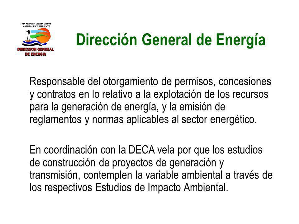 Dirección General de Energía Responsable del otorgamiento de permisos, concesiones y contratos en lo relativo a la explotación de los recursos para la