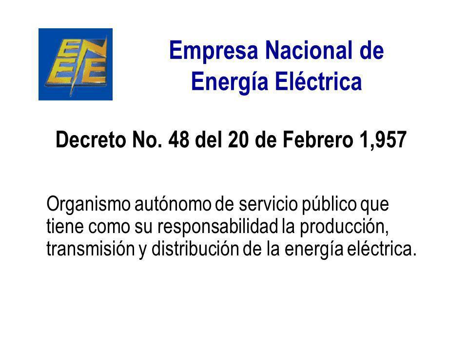 Empresa Nacional de Energía Eléctrica Organismo autónomo de servicio público que tiene como su responsabilidad la producción, transmisión y distribuci