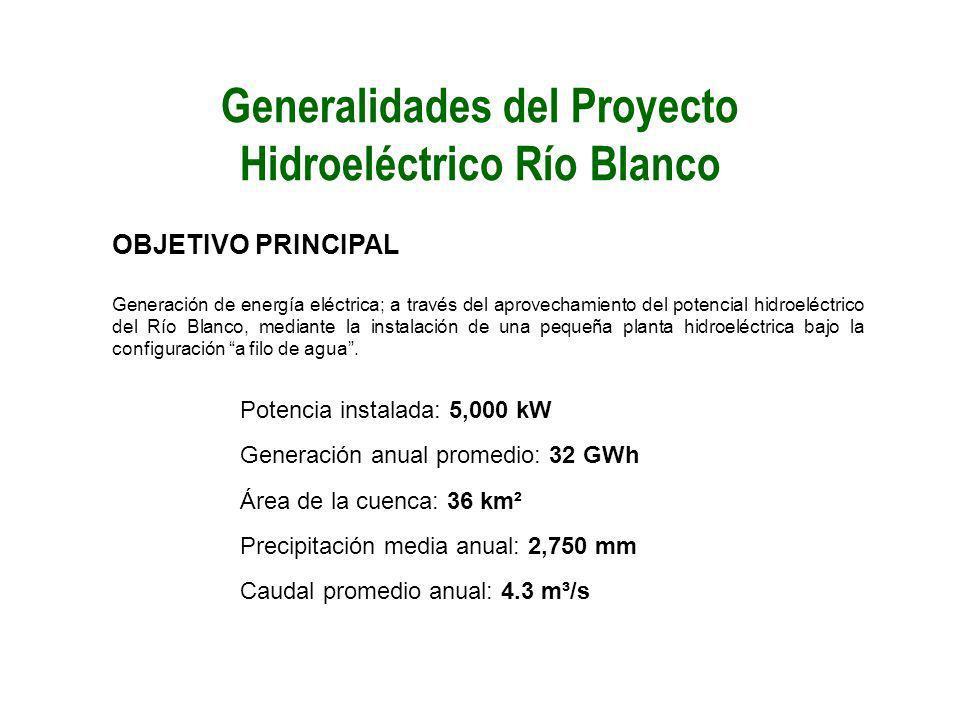 Generalidades del Proyecto Hidroeléctrico Río Blanco OBJETIVO PRINCIPAL Generación de energía eléctrica; a través del aprovechamiento del potencial hi
