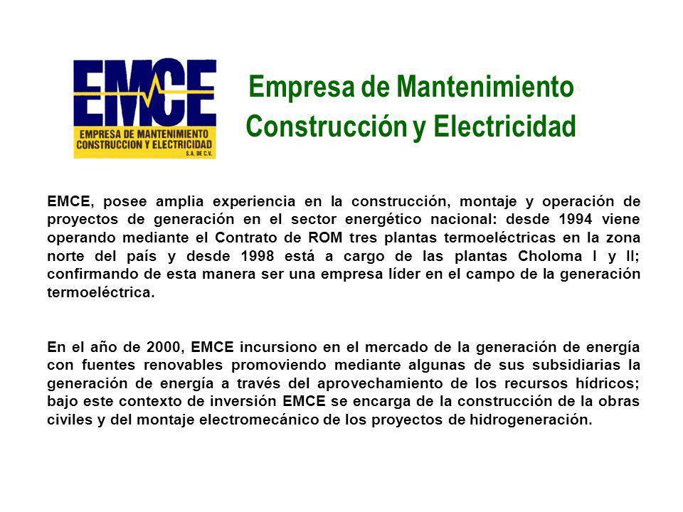 EMCE, posee amplia experiencia en la construcción, montaje y operación de proyectos de generación en el sector energético nacional: desde 1994 viene o