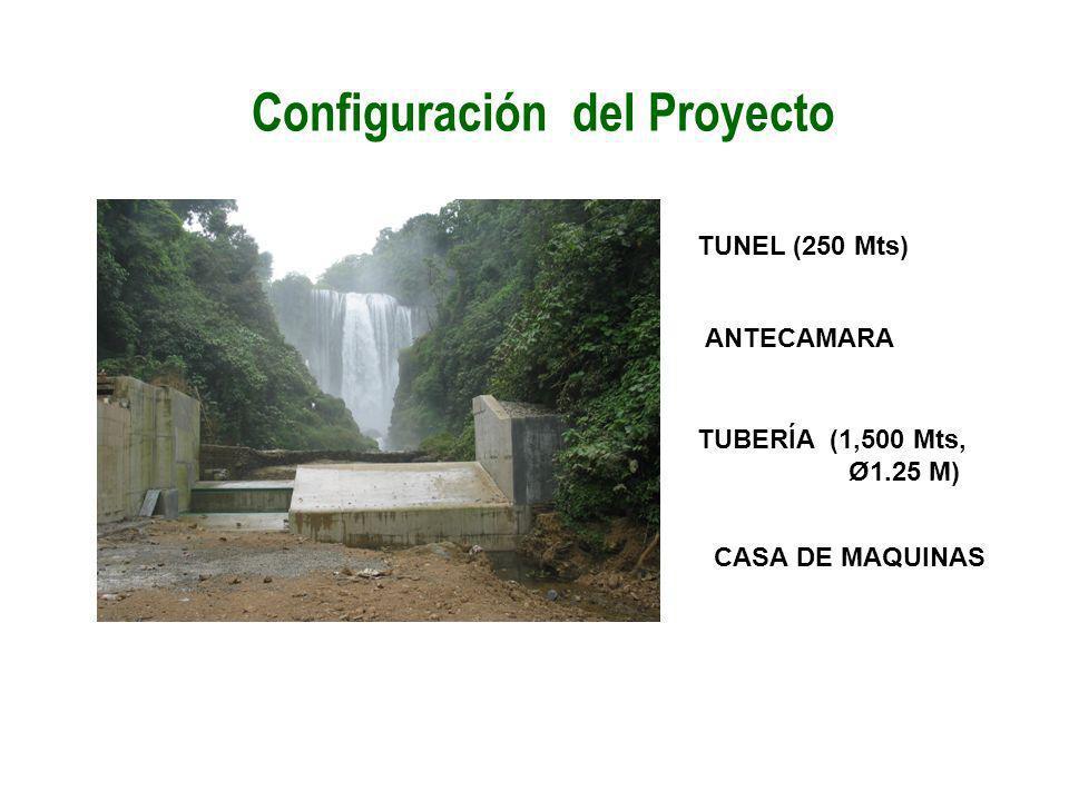 Configuración del Proyecto TUNEL (250 Mts) ANTECAMARA TUBERÍA (1,500 Mts, Ø1.25 M) CASA DE MAQUINAS