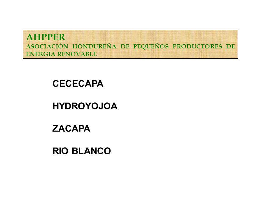 AHPPER ASOCIACIÓN HONDUREÑA DE PEQUEÑOS PRODUCTORES DE ENERGIA RENOVABLE CECECAPA HYDROYOJOA ZACAPA RIO BLANCO